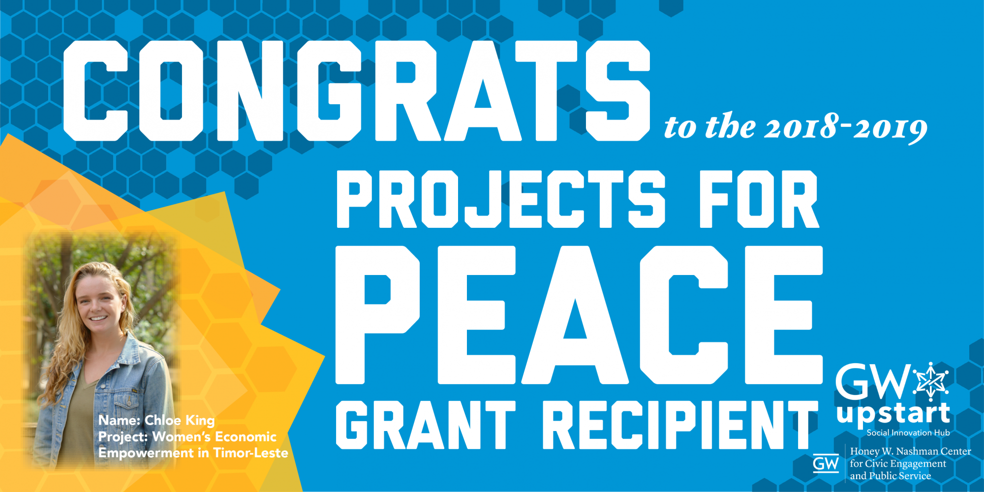 congrats to the 2018-2019 Projects for Peace Grant Recipient. Name: Chloe King, Projects: Women's Economic Empowerment in Timor-Leste