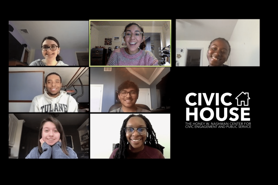 "Screenshot of 5 students in a zoom meeting, text says ""civic house"", vector art of a house"