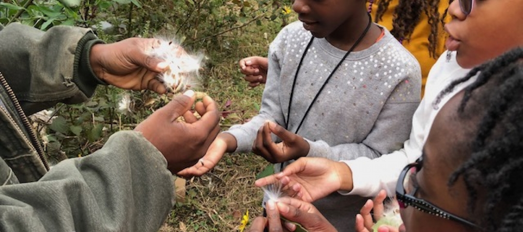 young girls learning about the environment