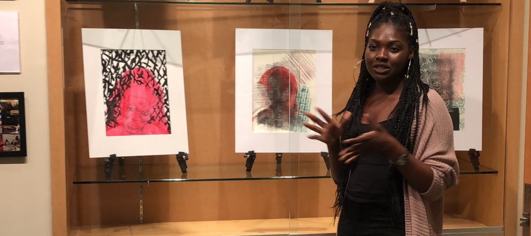 student shows her art at ArtReach GW Community Gallery