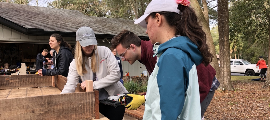 GW students volunteering during alternative break