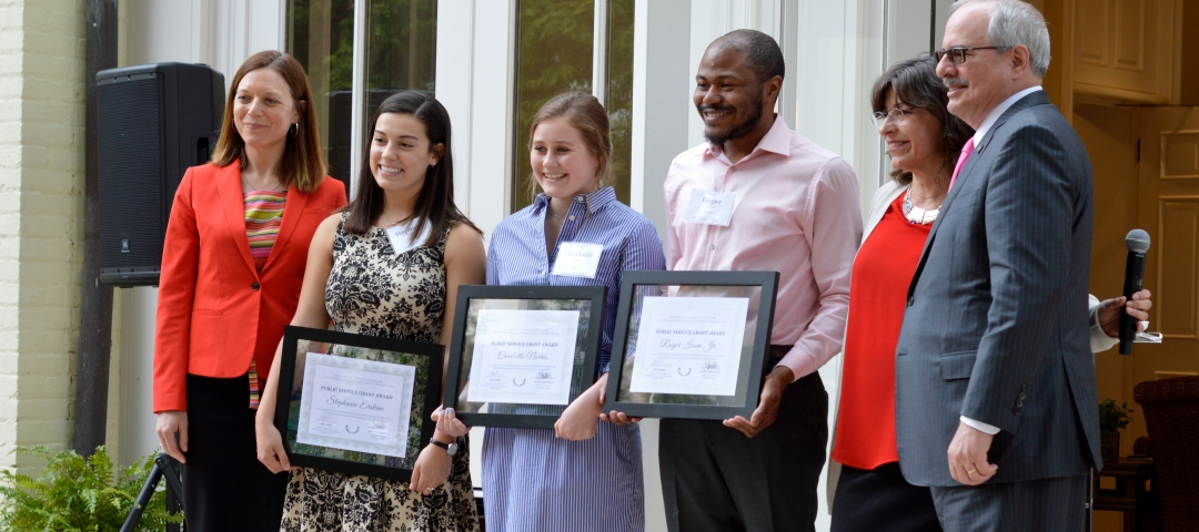 students accepting public service grant awards